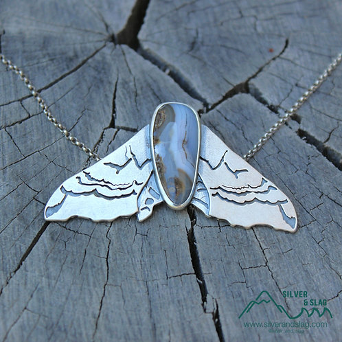 Smerinthus Sphinx Moth w Mojave Desert Agate Sterling Silver Statement Necklace