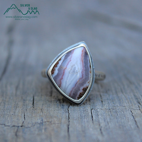 Mojave Desert Agate with Pink set in Sterling Silver Statement Ring - Size 7