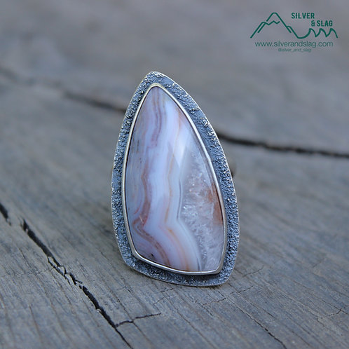 Amazing Pink Mojave Desert Agate in Sterling Silver Statement Ring - Size 8.5