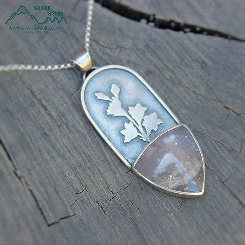 California Pink Moss Agate in Sterling Silver Wildflower Statement Necklace