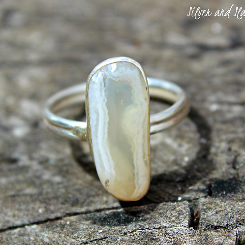 Malibu Beach Banded Agate set in Sterling Silver Window Ring - Size 7