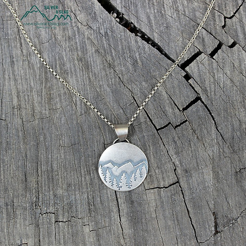 California National Forest Scene Sterling Silver Necklace