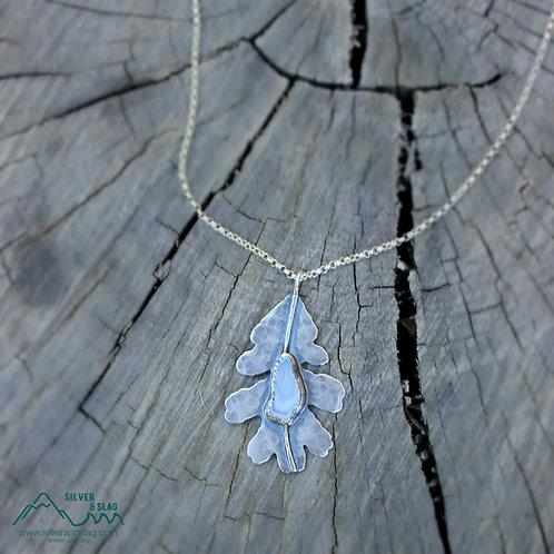 Sterling Silver California Valley Oak Leaf with Malibu Agate Necklace