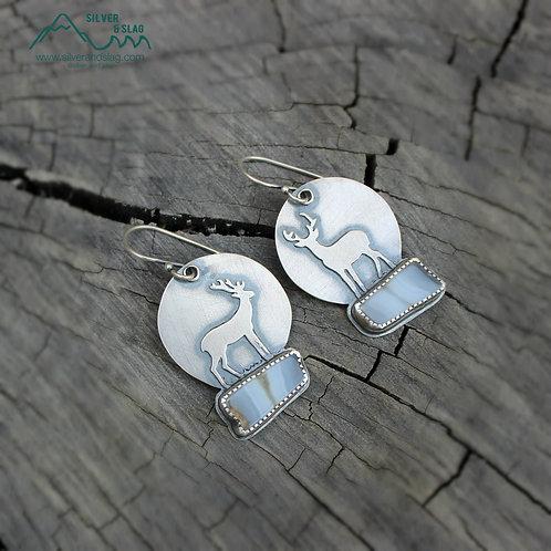 Moonlit Deer w Malibu Agates set in Sterling Silver Dangle Statement Earrings