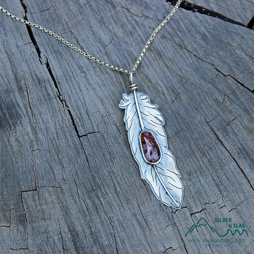 Floating Feather with Incredible Mojave Desert Agate Sterling Silver Necklace