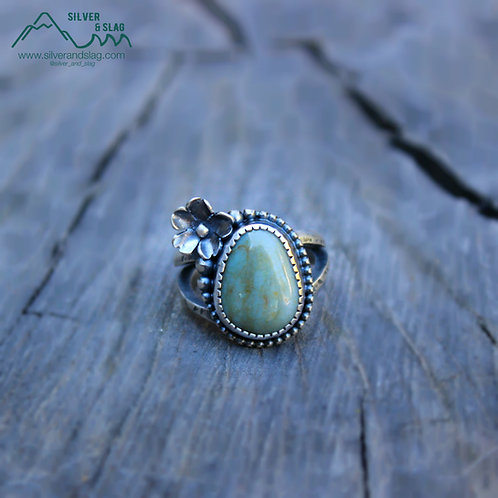 CA Blue Jade set in Sterling Silver California Superbloom Ring - Size 5.5