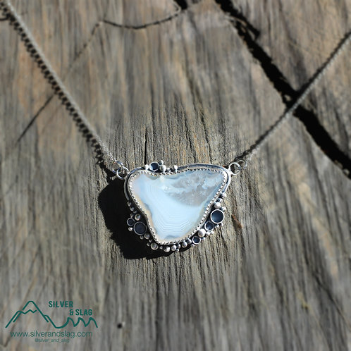 Malibu Banded Agate set in Sterling Silver Necklace           Silver & Slag  