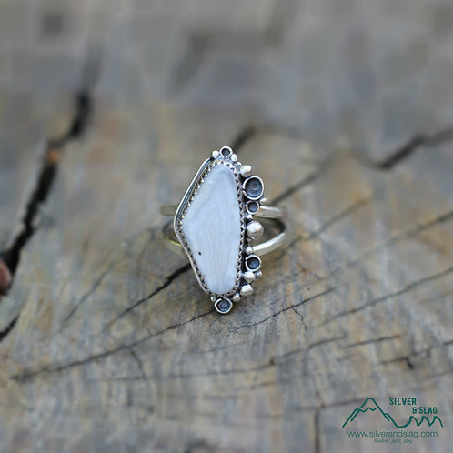 Malibu Agate set in Sterling Silver Ring - Size 6          | Silver & Slag |