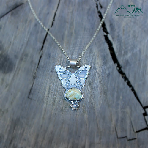 Butterfly with Central Coast Jasper Sterling Silver Necklace