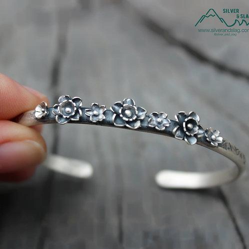 California Superbloom Sterling Silver Cuff Bracelet - 7 Flowers