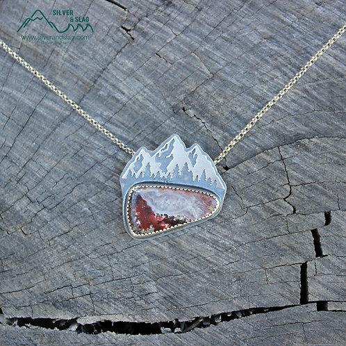Eastern Sierra Mountain Scene w Mojave Moss Agate Sterling Silver Necklace