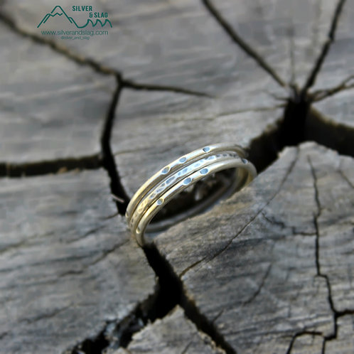 Sterling Silver Rustic Stacking Rings, set of 3            | Silver & Slag |