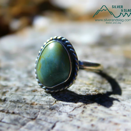 California Blue Jade set in Sterling Silver Ring - Size 7.25   | Silver & Slag |