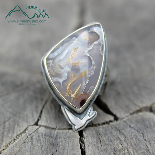 Soaring Swallows with Amazing Mojave Desert Agate Sterling Silver Ring - Size 8