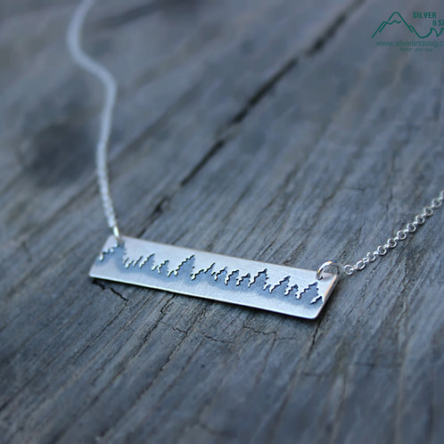 Sterling Silver California Forest Treeline Necklace         | Silver & Slag |
