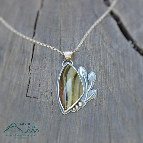 California Petrified Wood in Sterling Silver Statement Necklace
