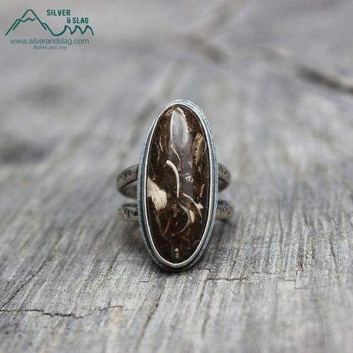 California Marine Fossils set in Sterling Silver Statement Ring - Size 6.5