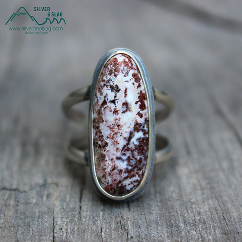 Mojave Desert Moss Agate set in Sterling Silver Statement Ring - Size 8.5