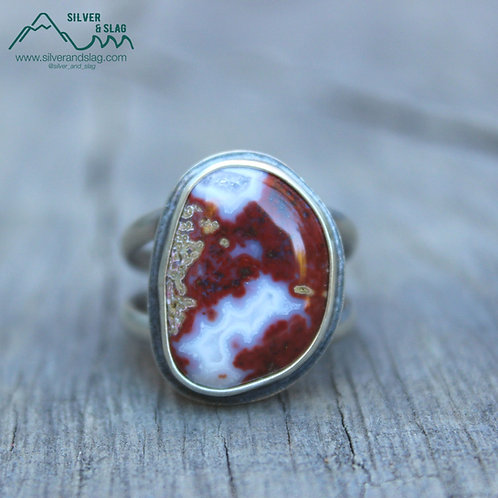 Mojave Desert Red Agate set in Sterling Silver Statement Ring - Size 9