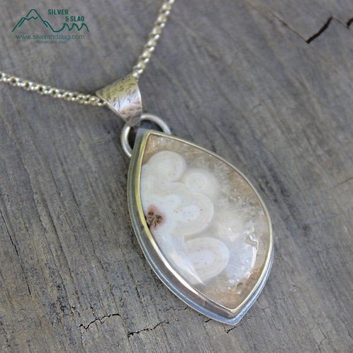 Mojave Desert Agate set in Sterling Silver Window Statement Necklace