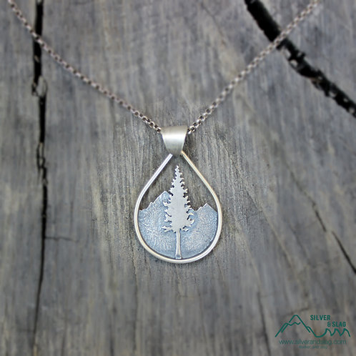 Sterling Silver California Forest Silhouette Teardrop Necklace | Silver & Slag |