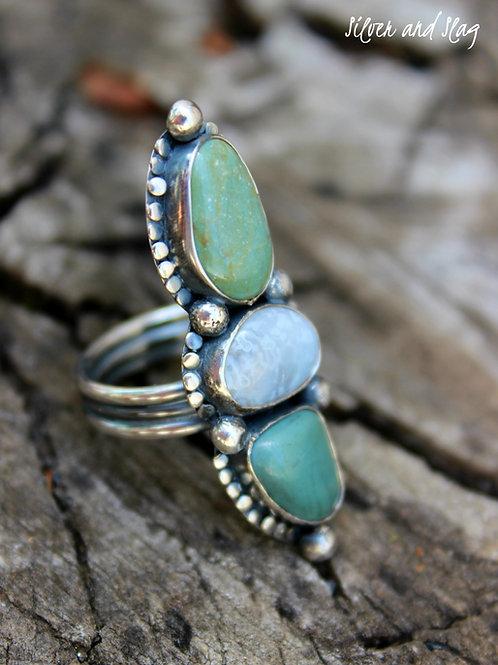 Ocean Inspired Jasper & Agate set in Sterling Silver Ring - Size 5.5