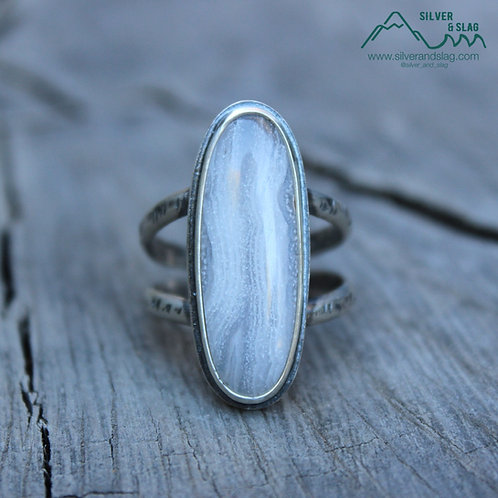Mojave Desert Seam Agate set in Sterling Silver Statement Ring - Size 9
