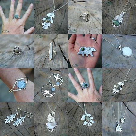 silver and slag jewelry handmade califor