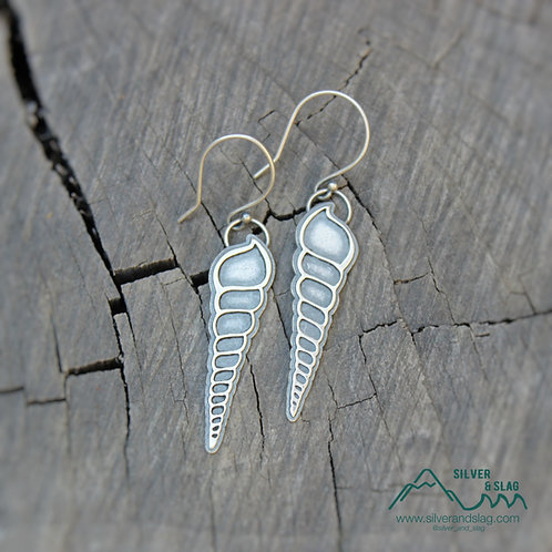 Hand Sawed Sterling Silver Shell Cross Sections Dangle Earrings