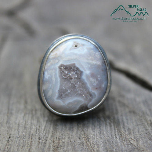 Mojave Desert Agate set in Sterling Silver Statement Ring - Size 7