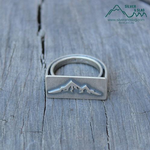 Unisex Sterling Silver Eastern Sierra Mountain Range Arch Bridge Ring - Size 6