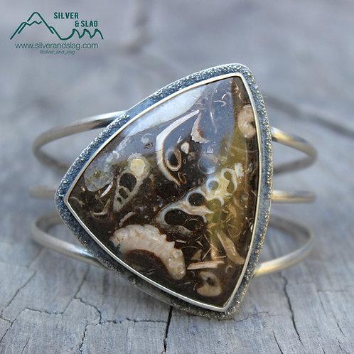 California Marine Fossils in Sterling Silver Statement Cuff Bracelet