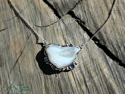 Malibu Banded Agate set in Sterling Silver Necklace         | Silver & Slag |
