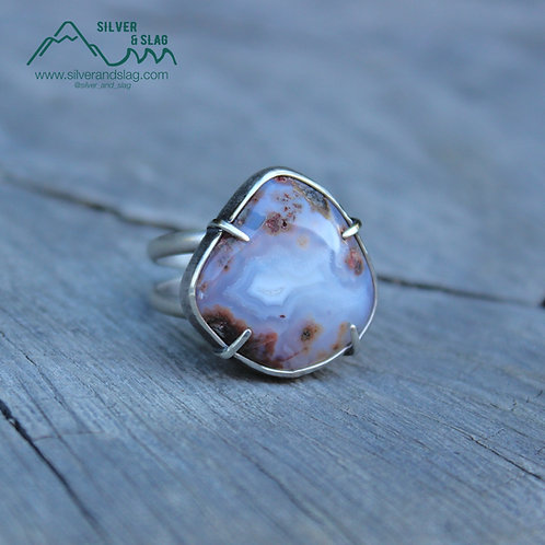 Gorgeous Mojave Desert Agate set in Sterling Silver Statement Ring - Size 9.5