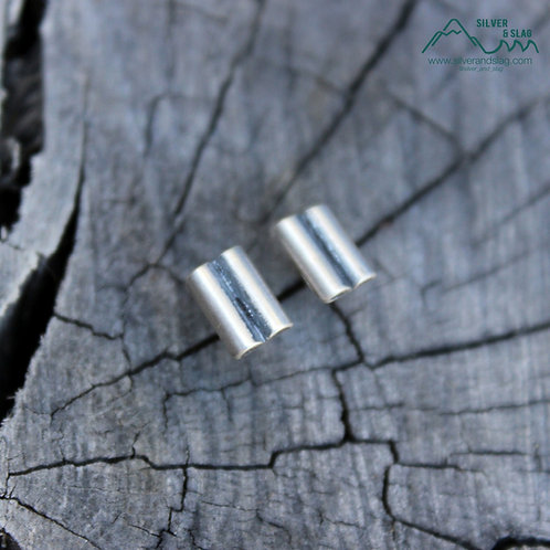Sterling Silver Double Bar Stud Earrings           | Silver & Slag |