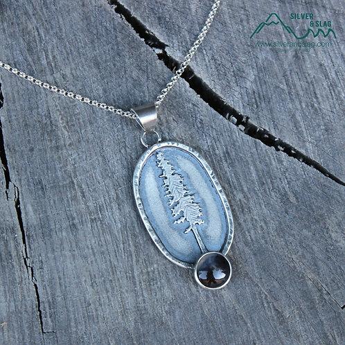 California Redwood w Malibu Dendritic Agate Sterling Silver Necklace