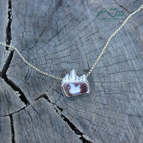 Small Forest Treeline Silhouette Mojave Desert Agate Sterling Silver Necklace