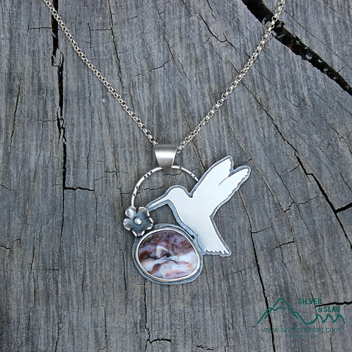Hummingbird Feeding with Amazing  Mojave Desert Agate Sterling Silver Necklace