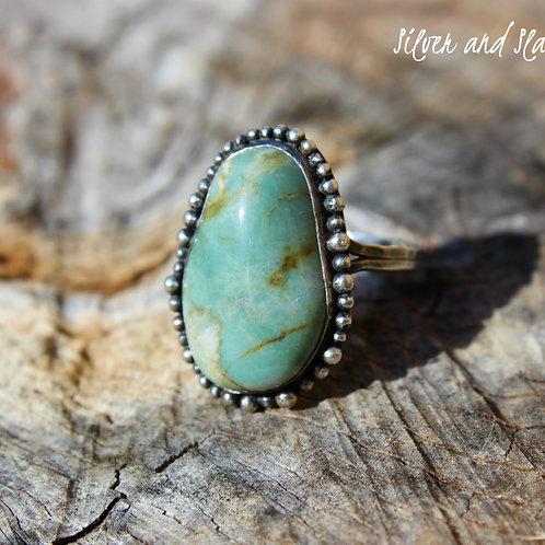 California Blue Ocean Jasper set in Sterling Silver Ring - Size 7
