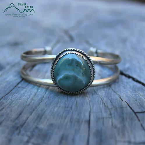 Central California Coast Blue Jade Sterling Silver Cuff Bracelet