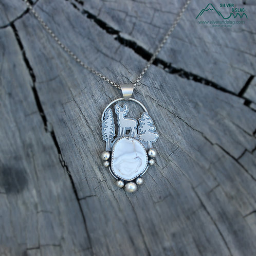 Deer in the Forest with Malibu Agate Sterling Silver Necklace  | Silver & Slag |