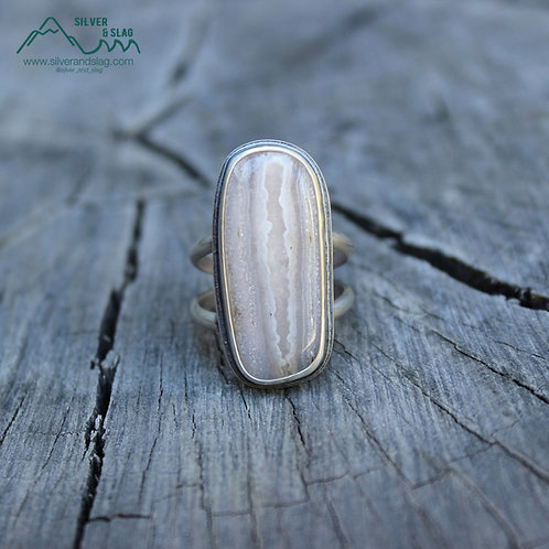 Mojave Desert Seam Agate set in Sterling Silver Statement Ring - Size 9.5