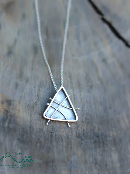 Sterling Silver Geometric Fidget Necklace - Triangle               | Silver