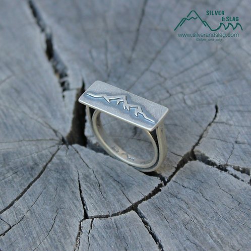Unisex Sterling Silver Eastern Sierra Mountain Range Arch Bridge Ring - Size 8