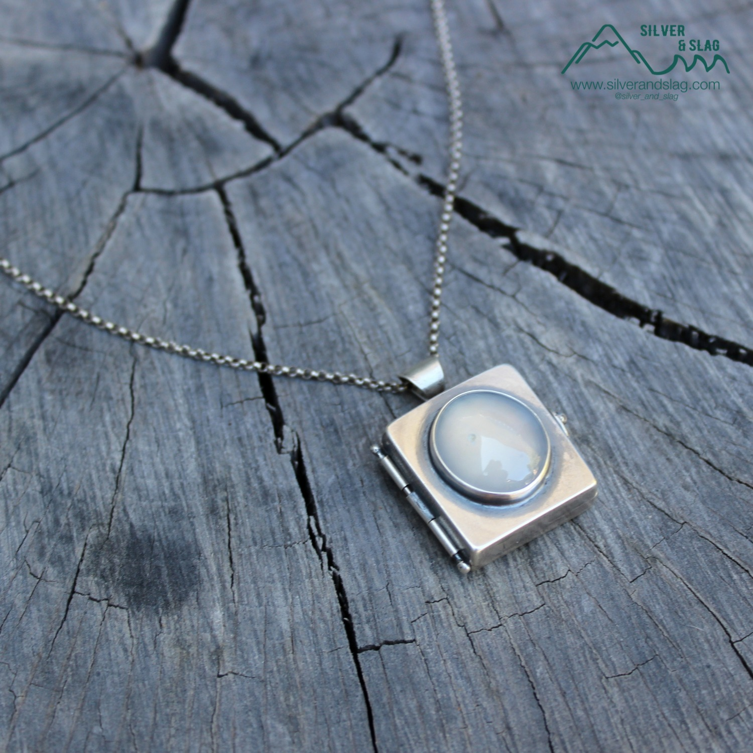 silver and slag handmade locket nature j