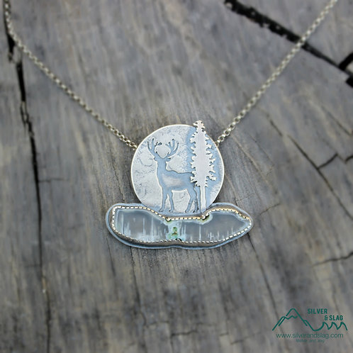 Deer in the Moonrise with Malibu Agate Sterling Silver Necklace  |Silver & Slag|