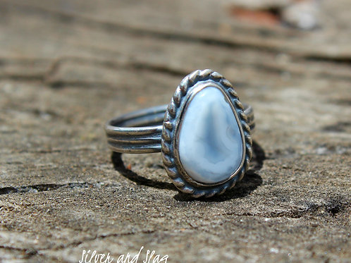 Malibu Beach Banded Agate Slice set in Sterling Silver Ring - Size 5