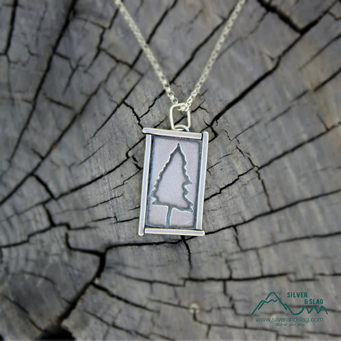 Sterling Silver California Pine Tree Minimalist Necklace       | Silver & Slag |