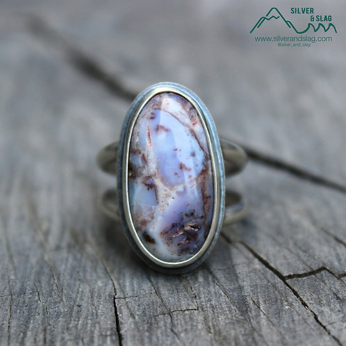 Mojave Desert Agate set in Sterling Silver Statement Ring - Size 8