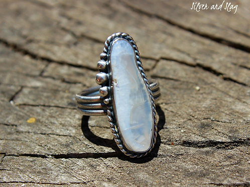 Malibu Beach Agate Slice set in Sterling Silver Ring - Size 7.75